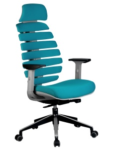 Кресло RCH Shark серый пластик, ткань лазурная (1)