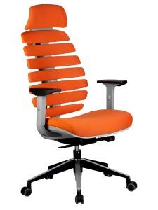 Кресло RCH Shark серый пластик, ткань оранжевая (1)