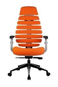Кресло RCH Shark серый пластик, ткань оранжевая (2)
