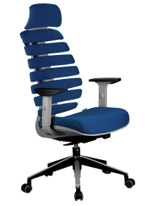 Кресло RCH Shark серый пластик, ткань синяя (1)
